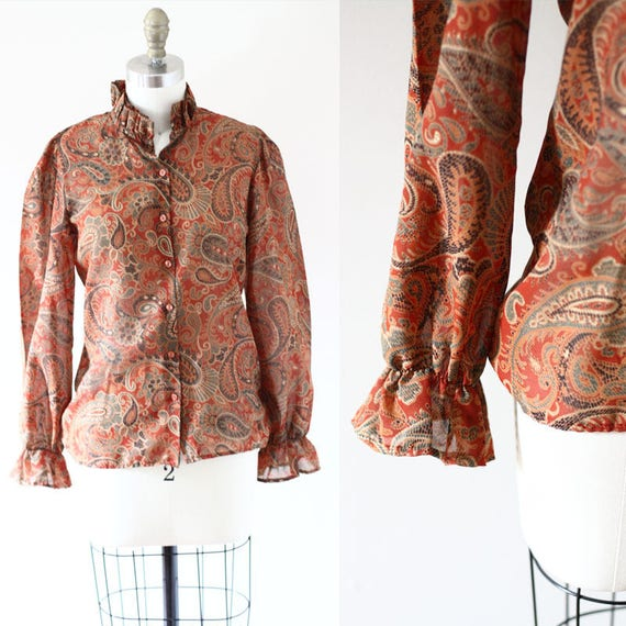 1970s Sheer Paisley Blouse // 1970s Eatons blouse // vintage top