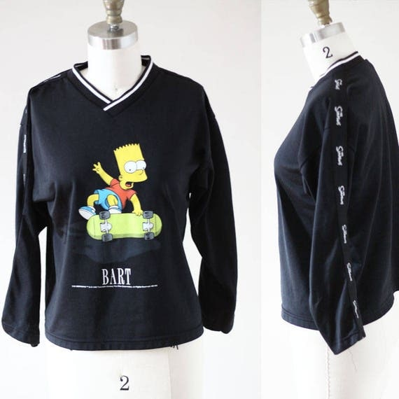 1990s Bart Simpson long sleeve tee // 1990s Simpsons tshirt // vintage t-shirt