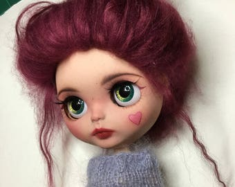 Raspberry – OOAK custom fake Blythe doll with full outfit and mohair wig. Gorgeous girl by Juniper's Carousel.
