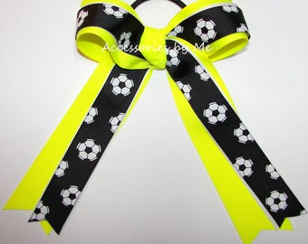 Black Soccer Bow, Neon Yellow Soccer Clip, Soccer Balls Black White Neon Yellow Ribbons Ponytail, Black Soccer Bows, Bulk Cheap Soccer Bows