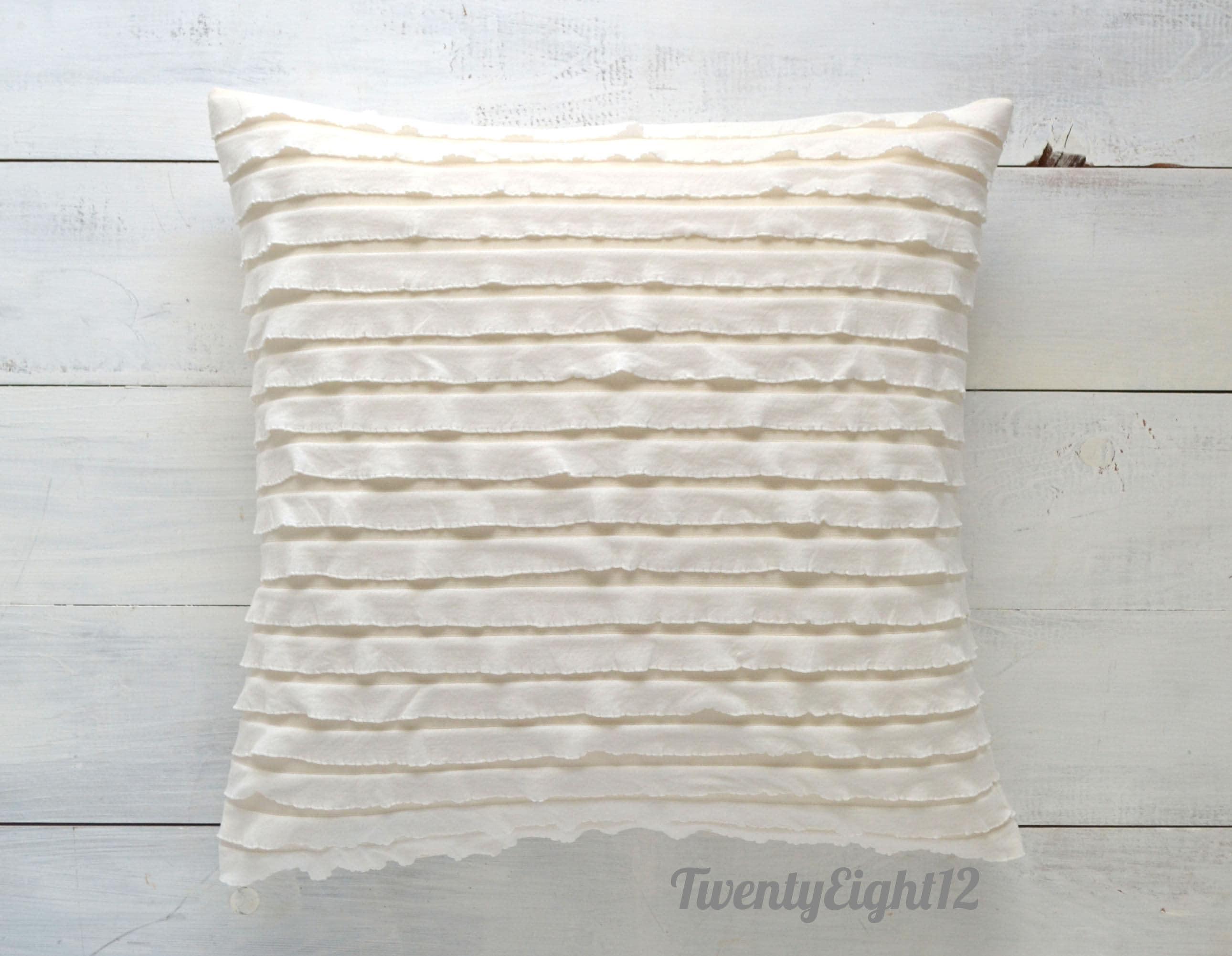 White Ruffle Pillow Cover 20 x 20 Decorative Pillow Throw