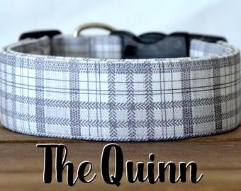 "Charcoal, Light Grey & White Plaid Dog Collar ""The Quinn"""
