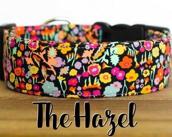 """Magenta, Black, Ice Frappe, Mustard & Orange Modern Vintage Floral Dog Collar """"The Hazel"""""""