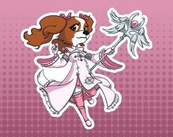 White Mage / Healer - Cavalier King Charles Spaniel Dog Fantasy Role Playing RPG Class - Large Die Cut Vinyl Sticker, Original Sticker