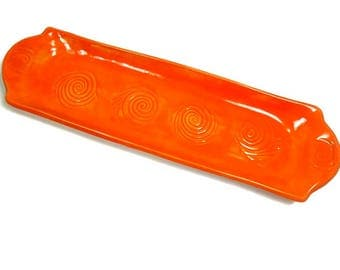 Orange Serving Tray, Sushi Dish, Appetizer Plate, Orange Pottery, Cheese Tray, Orange Kitchen Decor, Perfume Tray, Snack Tray, Serving Dish