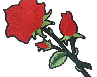 Red Iron on Roses Appliques, Fashion Hot Fix Red Flower Appliques
