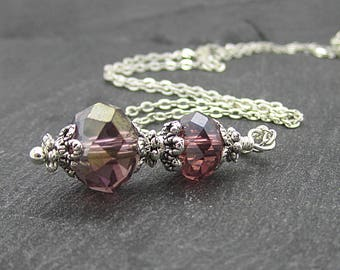 Sangria Bridesmaid Necklace, Plum Crystal Jewellery, Plum Bridesmaid, Purple Bridal Sets, Bridal Party Gifts, Bridesmaid Gift Idea