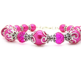 Hot Pink Bridesmaid Jewellery Bright Pink Pearl Bracelet Crystal Bridal Jewellery Bridal Party Gift Bright Pink Wedding, Fushia Bridesmaids