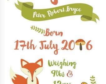 Woodland fox nursery print personalised digital printable