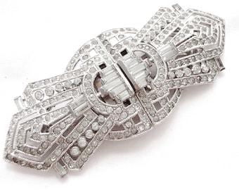 Art Deco Rhinestone Brooch - Duette Clip - Art Deco Fur Clip - 1920s Wedding - Vintage Bride -  Bridal - 1920s Costume Jewelry