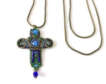 "Adaya Pewter Enamel Swarovski Rhinestone Cross Pendant Necklace 22"""
