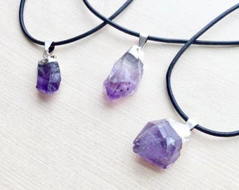 Amethyst Raw Stone Pendant Necklace