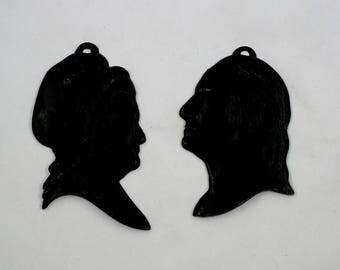 Vintage Metal Silhouettes George and Martha Washington