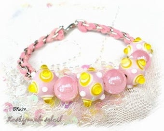 Pink Pearl bracelet with glass and braided cotton * BR524