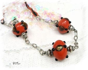 Red lampwork CO151 beads necklace