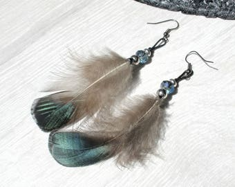 Earrings ethnic feathers country