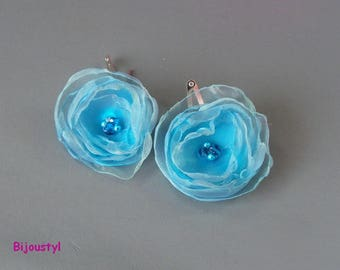 """Hair clips fantasy - flowers """"Blue Organza"""" assorted beads"""