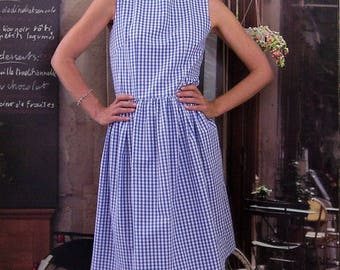 Retro sleeveless dress gingham blue and white from 36 to 42