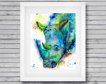 Rhino art print - colorful rhino art, rhino spirit animal, animal art print, nursery animal art, zoo animal art print