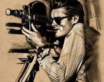 Original A4 charcoal drawing of James Dean.