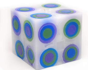 Cosmic Candles Green Blue Purple Square Pillar Unscented 4x4
