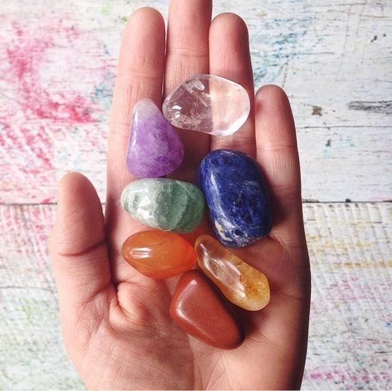 Chakra crystal tumble stone set