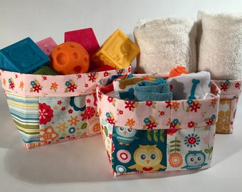 Fabric Bin Set, Nursery Fabric Bins, Fabric Caddies, Nesting Fabric Bins, Baby Gift, Nursery Bins for Girl, Organizers, Storage Bins - Girl