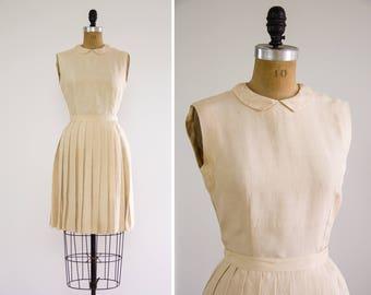 vintage 1950s dress set   ivory vintage silk dress   white 1950s blouse 1950s skirt   bonwit teller