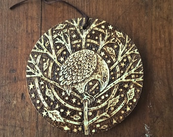Bird in tree-An original Wood Burning picture, decoration