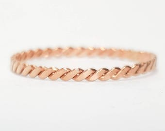 Thin Twist Ring, Stacking Ring, Rose Gold Filled