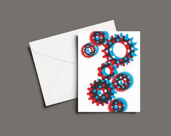 Gears in 3D Greeting Card