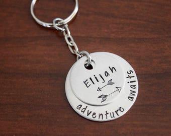 Adventure Awaits + Name Keychain