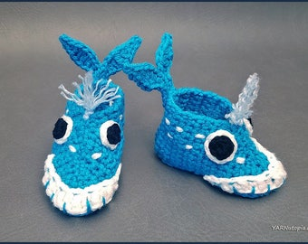 DIGITAL DOWNLOAD: PDF Crochet Pattern for the Whale-y Awesome Baby Booties