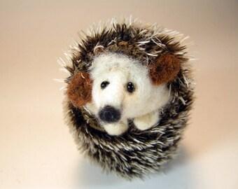 Needle felted hedgehog/hedgehog gift/hedgehog ornament/hedgie/hedgehog soft sculpture/hedgehog art/curled up hedgehog/cute hedgehog