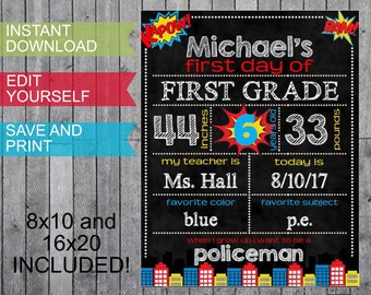 Back to School First Day of Chalkboard Signs Boys Superheroes Grades - Personalized Instant Download 8x10 16x20 Digital Files