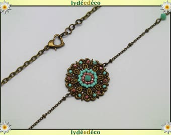 Vintage flower headband print and turquoise coral glass beads bronze