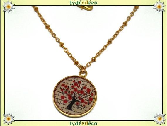 Necklace red black beige poppy Golden brass gold 24 carat 24 k leaves tree resin