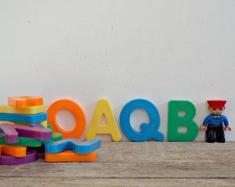 MAGNETS MAGNET SET - vintage big magnetic letters, plastic kids toy, refrigerator magnet magnets, colorful colourful, diy project