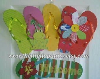 "CUTE Handmade ""Welcome"" Flip Flop Row Wreath Beach Door Decor Beachy Ocean Styles"