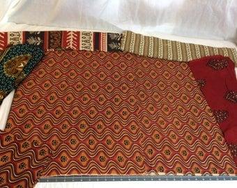 African Batik Print Fabric REMNANT PIECES Assorted Prints