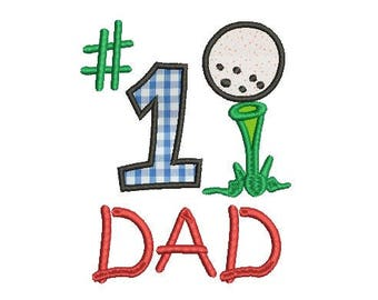 number 1 dad embroidery design