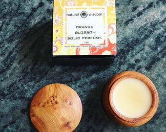 Orange Blossom Solid Perfume. 100% natural. No alcohol. No artificial fragrances. Vegan. 15 g
