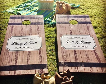 Painted No Vinyl Wedding Cornhole Boards / Reception Games Custom Cornhole Boards