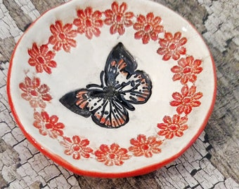Coral Red Butterfly handmade ceramic ring dish, tea bag holder, spoon rest