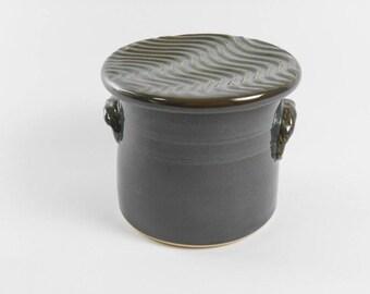 Dark green butter keeper - butter crock - pottery butter dish - French butter crock - butter saver S142
