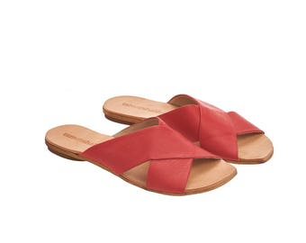 Red sandals, Simone, Scarlet red leather, crossover sandals