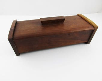 Hand-made Rectangular Wood Box - Walnut Box With Lid - Craftsmanship At Its Finest - Arched Ends - Red Velvet Insert