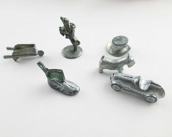 Vintage Monopoly Pieces - Metal 'Monopoly' Markers - Scotty Dog - Car - Man on Horse - Wheelbarrow - Top Hat - Old Shoe