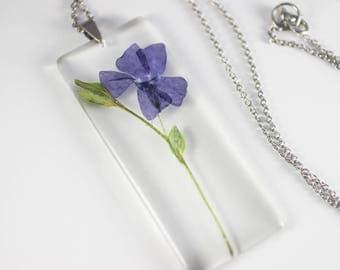Periwinkle (Vinca minor) Botanical Jewelry, Herbal Necklace, Gifts for Gardeners, Floral Necklace, Herbarium Pendant, Botany Specimen, Vegan