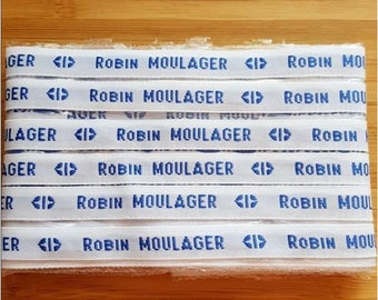 Custom woven name labels set sewing white text background blue